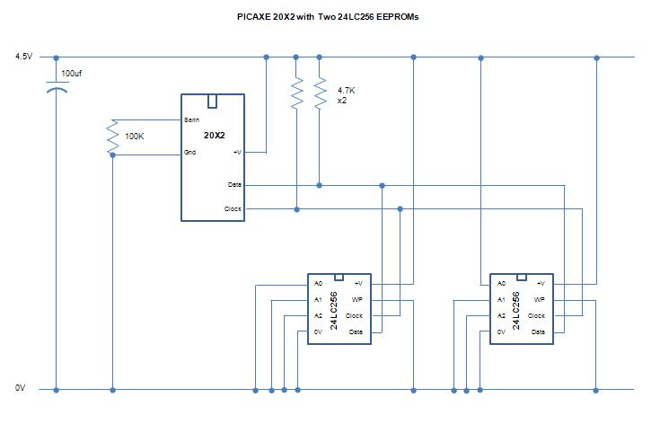 PICAXE 24LC16B and 24LC256 i2c EEPROM Interfacing Tutorial